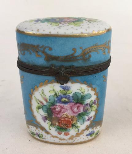 antiga caixinha porcelana pintada a mao