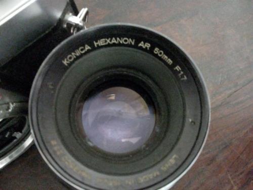 antiga camera konica t3 lente hexanon 50mm f 1.7 japan