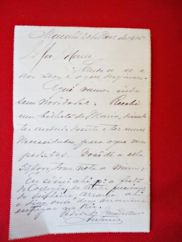 antiga carta bilhete circulada em 1915 para nova friburgo-rj