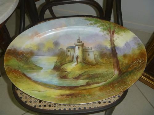 antiga e enorme travessa porcelana francesa