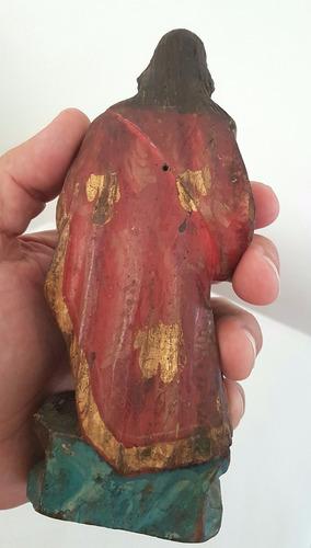 antiga escultura barroca de são joão batista de madeira