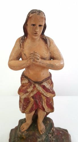 antiga escultura barroca  são joão batista madeira- sec.xix