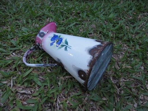 antiga jarra bule esmaltado florido