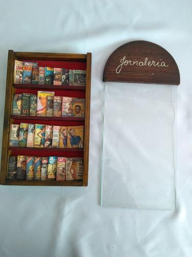 antiga miniatura jornaleiro revistaria usada ler anúncio