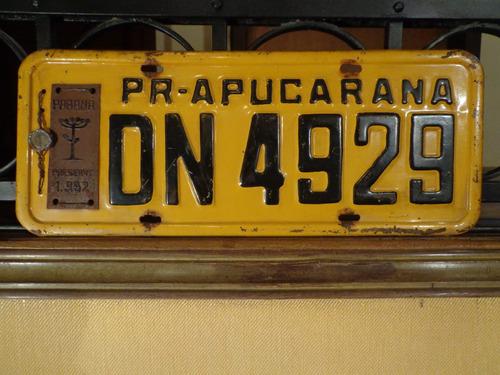 antiga placa automotiva amarela pr - dn 4929