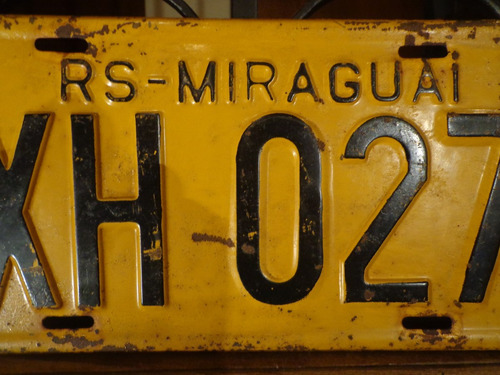 antiga placa automotiva amarela rs - xh 0271