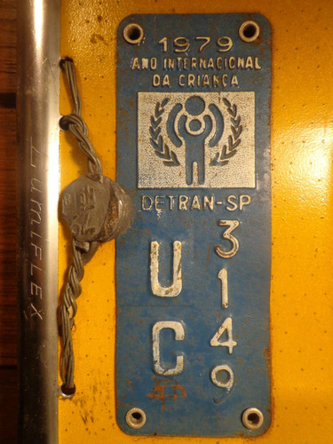 antiga placa automotiva amarela sp - uc 3149
