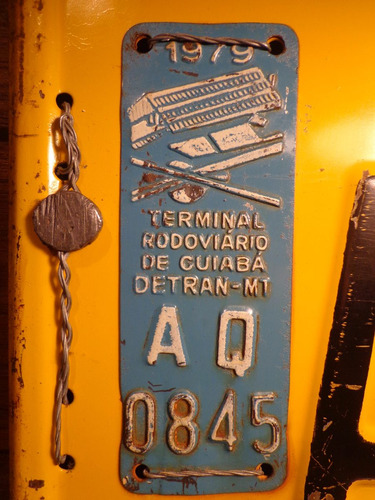 antiga placa automotiva mt - aq 0845