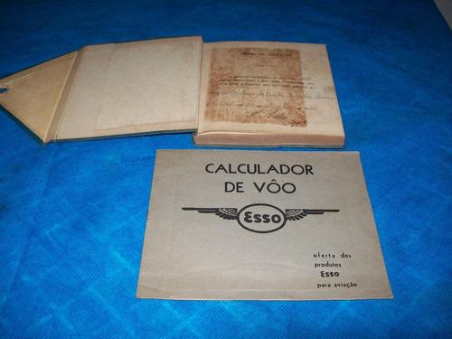 antiga régua de calculo de voo de avião da esso