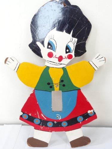 antigo brinquedo boneca p/ interruptor parede dec 60 estrela
