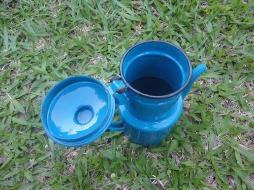 antigo bule esmaltado azul