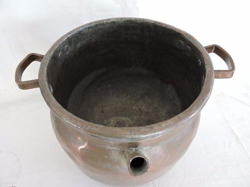 antigo caldeirão com fundo falso banho maria cobre cód 340