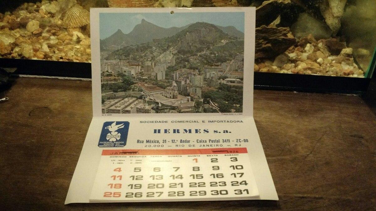 Calendario 1976.Antigo Calendario 1976