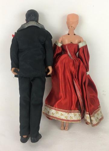 antigo casal barbie e ken traje de gala