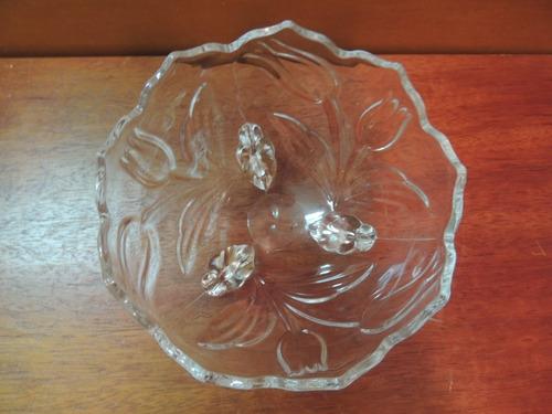 antigo centro de mesa fruteira ou baleiro de vidro - lindo