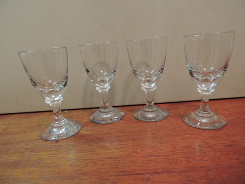 antigo conjunto 4 copos de vidro para licor