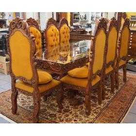 Antigo Conjunto Sala De Jantar Mesa 8 Cadeiras Colonial