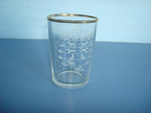 antigo copo de vidro c/pinturas de cachorros
