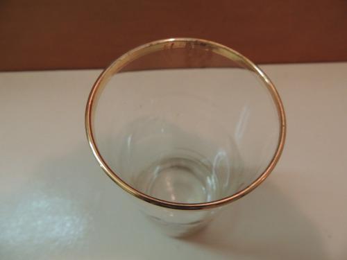 antigo copo vidro filetes dourados santos marinheiros