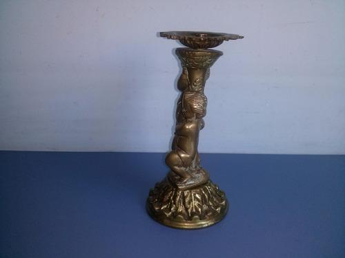 antigo e belo pé de fruteira com querubim em bronze