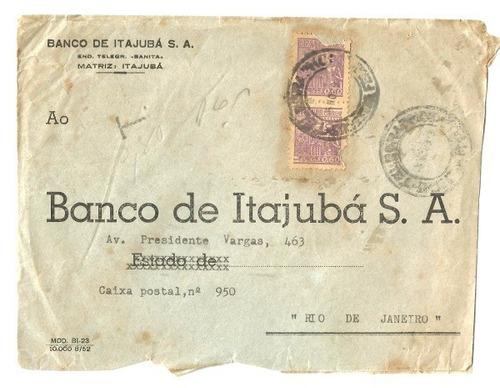 antigo envelope banco de itajubá s.a. -mg c. 1950, circulado
