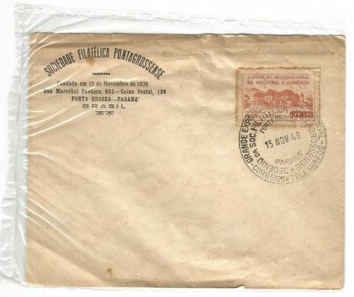 antigo envelope expos. intern. ind. e comércio ponta grossa