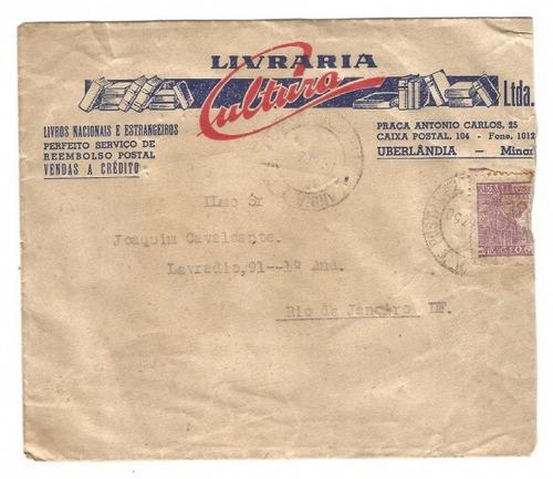 antigo envelope livraria cultura uberlândia mg - 1950