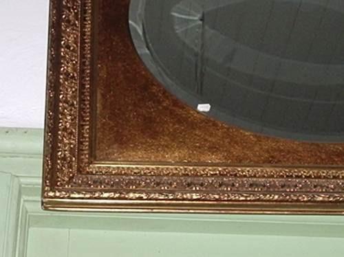 antigo espelho bisotê laminado em ouro
