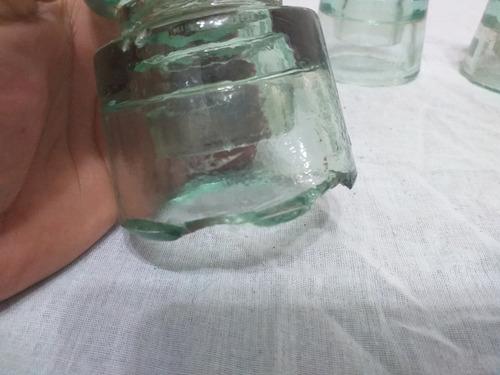 antigo isolador eletrico de vidro