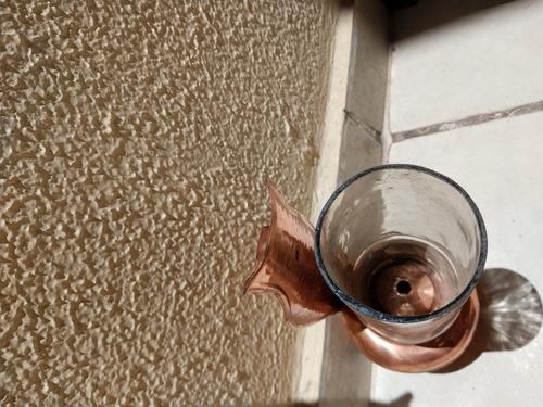 antigo - lampião de cobre parede com cupula de vidro !!!