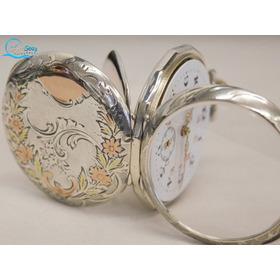 Antigo Lindo Relogio De Bolso Frances Prata Solida Porcelana
