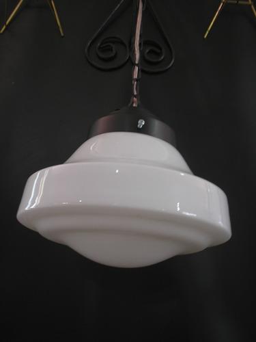 antigo lustre globo chapéu opalina anos 60 pendente preto