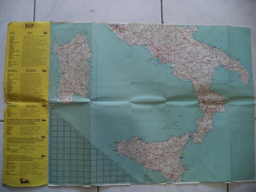 antigo mapa da itália/1962/mapa rodoviário antigo/raro
