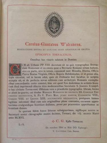 antigo missal de 1907 em latim excelente estado e muito raro