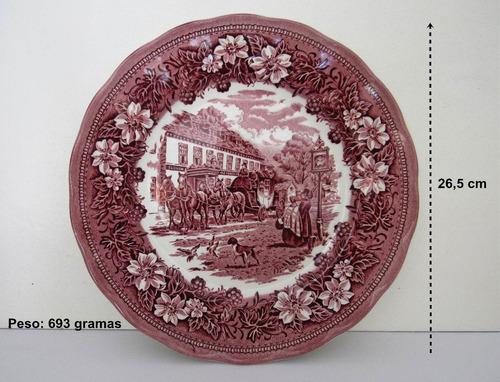antigo prato de parede inglês staffordshire 26,5cm