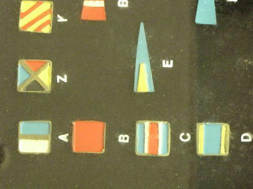 antigo quadro com bandeira e símbolos marítimos