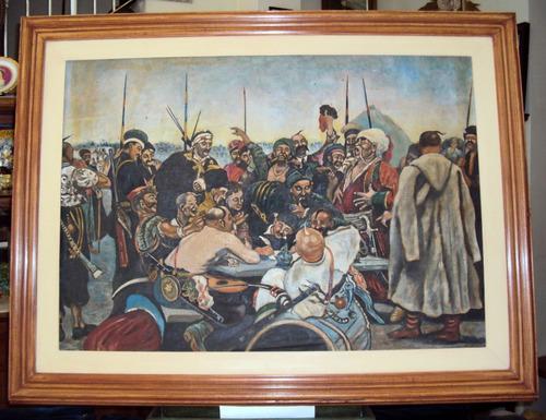 antigo quadro grande em óleo sobre tela soldados piratas