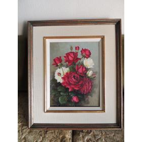 Antigo Quadro Óleo Sobre Tela Takaki Original Rosa Flores