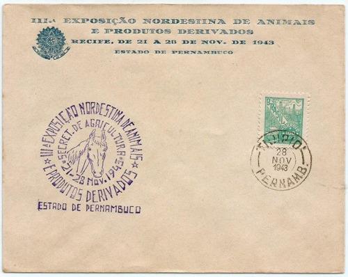 antigo recife- envel.- 3ª exposição nordestina animais 1943