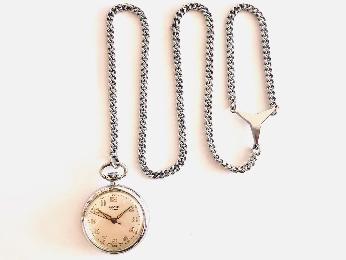 711c5c0974f Antigo Relógio De Bolso Suíço Lapela Grife Roamer 17 Rubis - R  350 ...