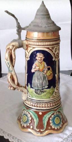 antigo tankard alemão musical - caneca porcelana