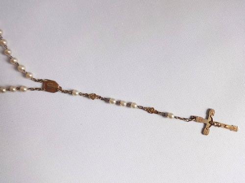 antigo terço 1940 dourado pérola sintetica frança $150por120