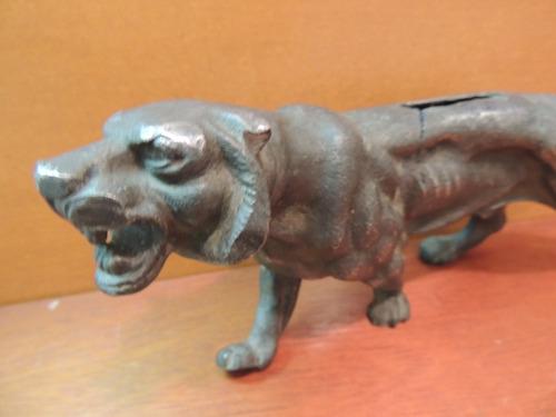 antigo tigre ferro fundido cofre cofrinho