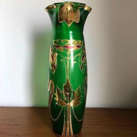 Antigo Vaso Art Nouveau Cristal Veneziano Verde Com Ouro