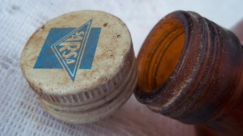 antigo vidro cor ambar com tampa original dr. pinard - sarsa
