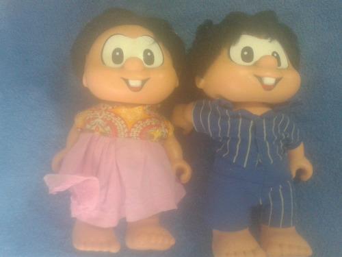 antigos bonecos chico bento e rosinha da mimo   anos 80