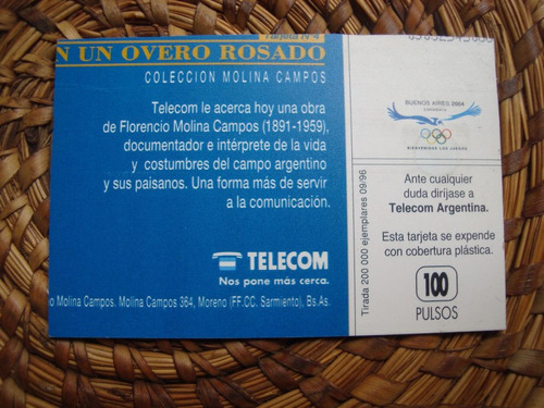 antigu tarjeta telefonica molina campos 1996 un overo rosado