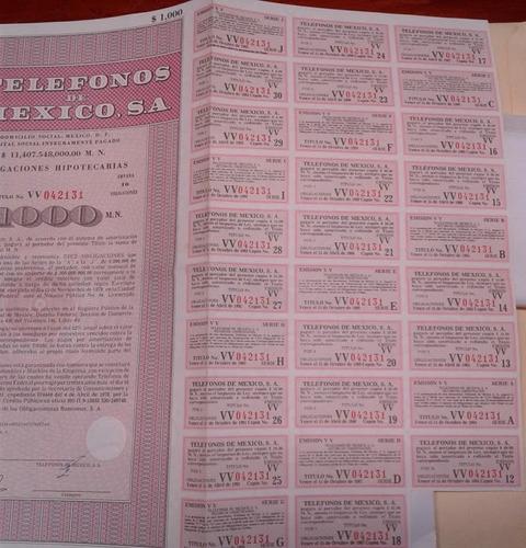 antigua accion/bono telefonos de mexico 1978 $5 mil !!