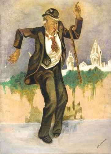 antigua acuarela de lima antigua: hombre bailando