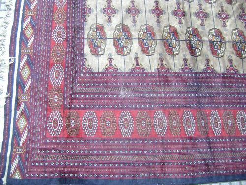 antigua alfombra boukara tekke, de lana hecha a mano